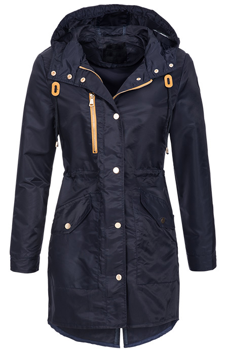 leichter damen bergangs mantel parka regen jacke kurzmantel d27 blau gr l ebay. Black Bedroom Furniture Sets. Home Design Ideas