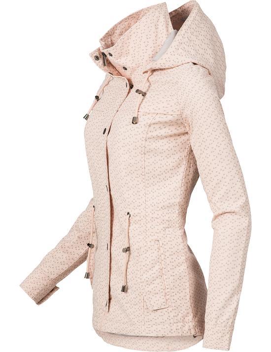 Details zu Fresh Made Damen leichte Übergangs Jacke Kurz Mantel Baumwoll Parka Kapuze 43304