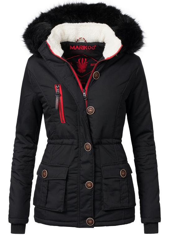 60dc0e03faf013 Marikoo Rosewater Damen Winter Jacke Parka Kurz Mantel warm ...