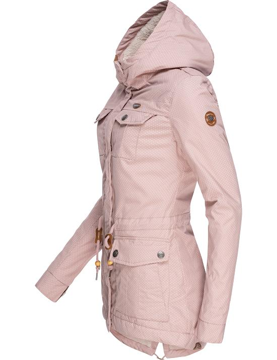 Jacke Winter Details Laika Ragwear Damen tailliert Mantel Teddy Fleece Kurz Parka zu Kapuze 0OXPnwN8k