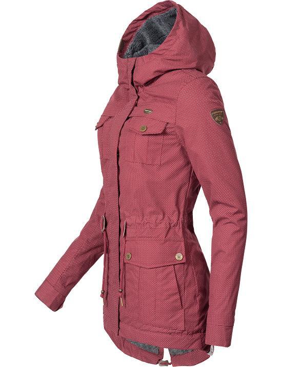 Ragwear Teddy Parka Kapuze Winter Zu Mantel Laika Jacke Kurz Damen Details Fleece Tailliert 76Yfbgy